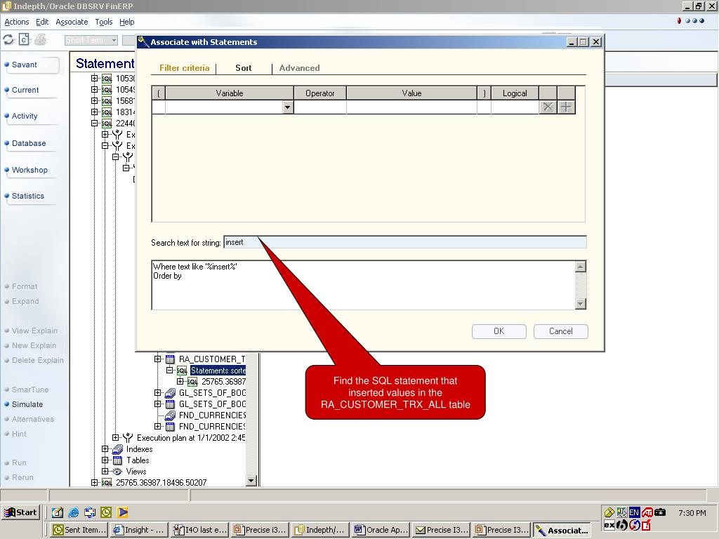Find the SQL statement that inserted values in the RA_CUSTOMER_TRX_ALL table
