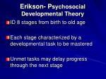 erikson p sychosocial developmental theory
