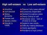 high self esteem vs low self esteem