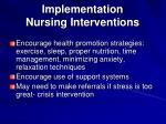 implementation nursing interventions