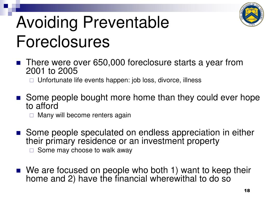 Avoiding Preventable Foreclosures