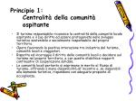 principio 1 centralit della comunit ospitante