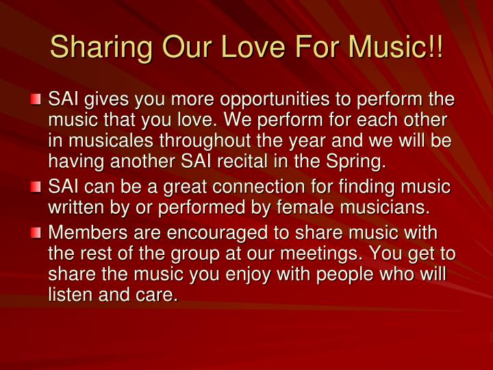 Sharing Our Love For Music!!
