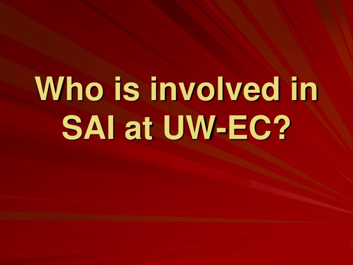 Who is involved in SAI at UW-EC?