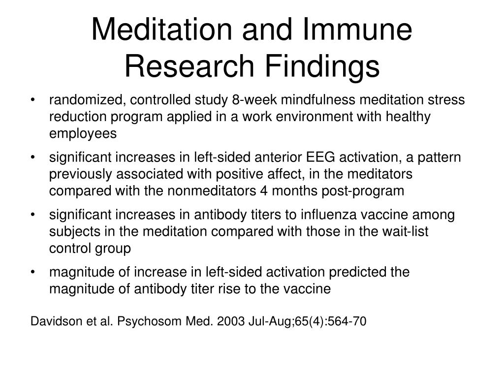Meditation and Immune Research Findings