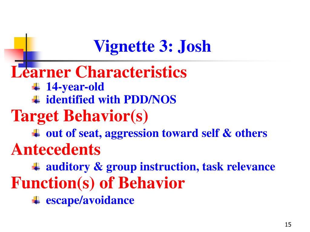 Vignette 3: Josh