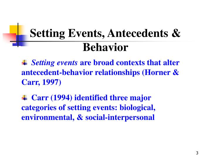 Setting Events, Antecedents & Behavior
