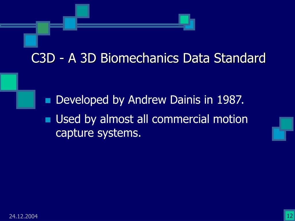C3D - A 3D Biomechanics Data Standard