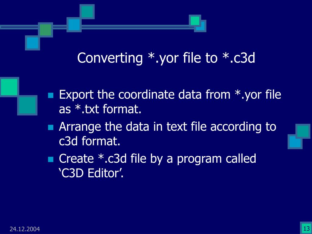 Converting *.yor file to *.c3d