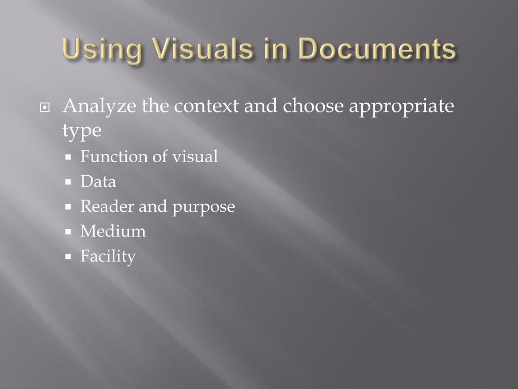 Using Visuals in Documents
