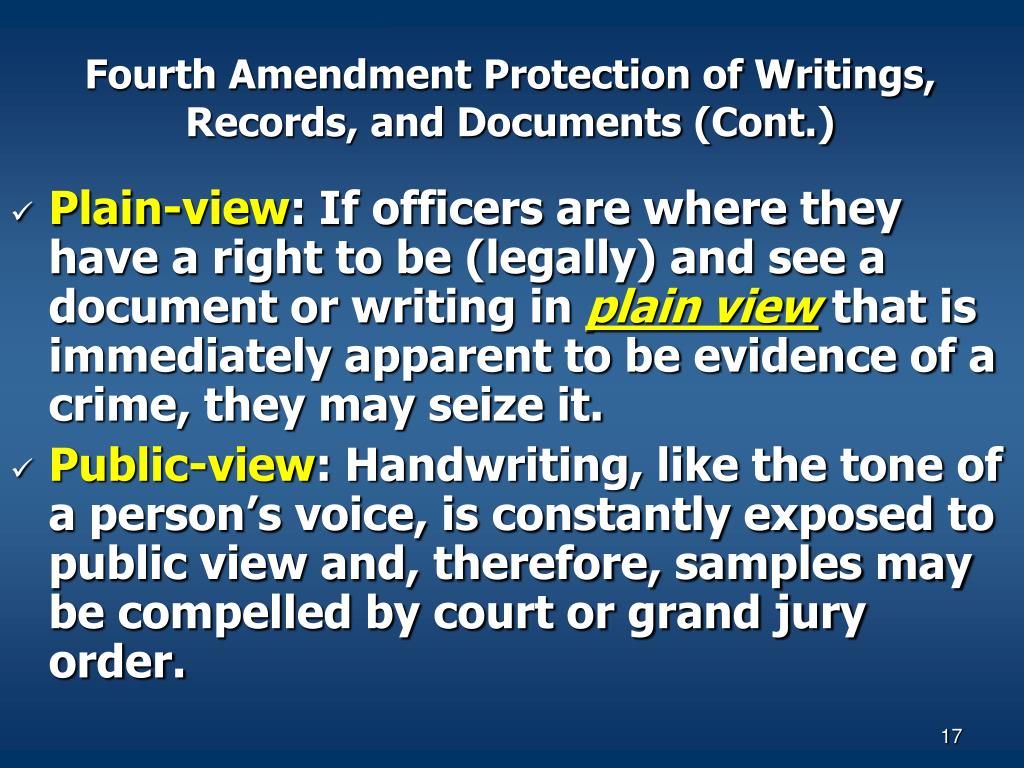 Fourth Amendment Protection of Writings, Records, and Documents (Cont.)