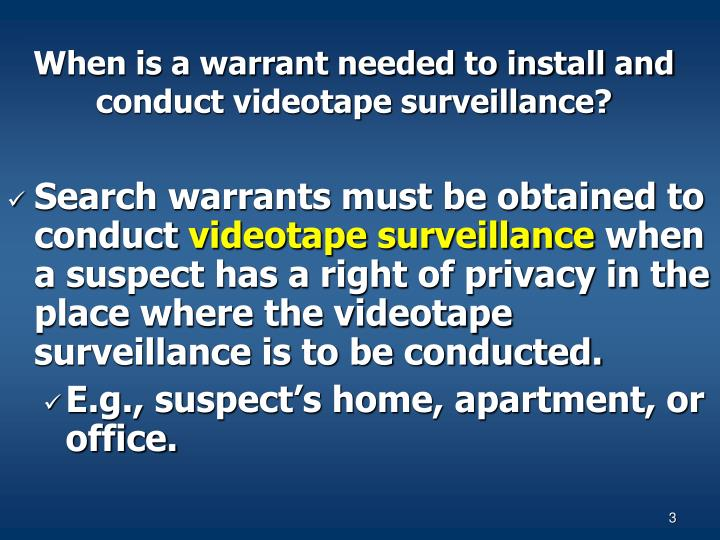 When is a warrant needed to install and conduct videotape surveillance