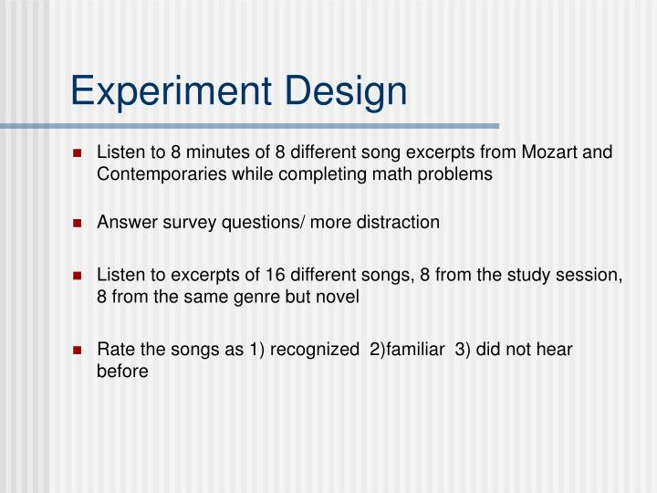Listen to 8 minutes of 8 different song excerpts from Mozart and Contemporaries while completing math problems