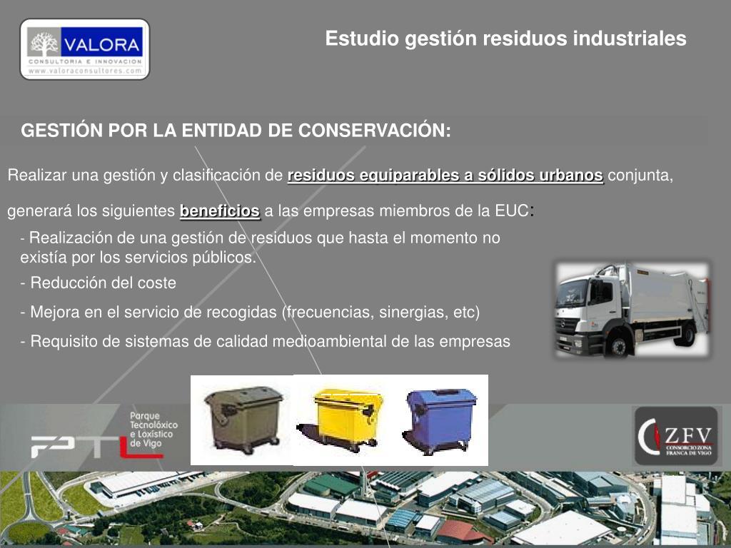 Estudio gestión residuos industriales