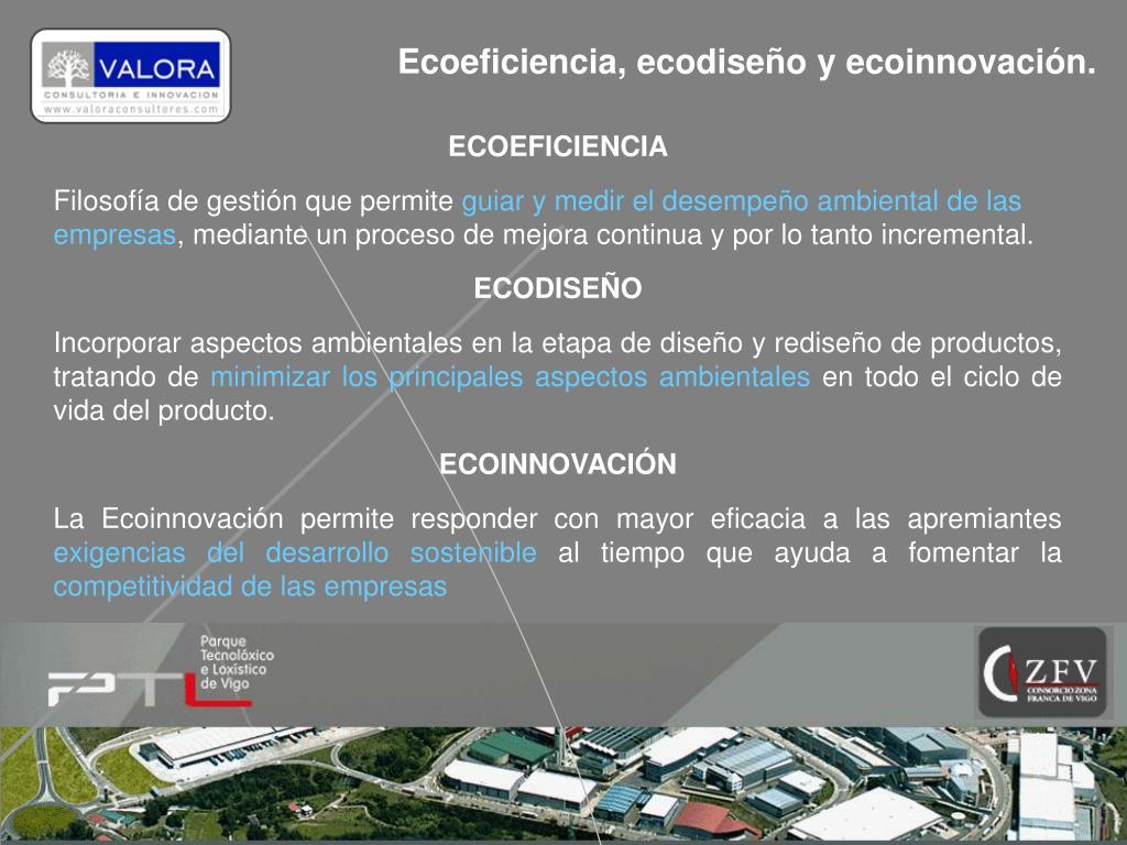 Ecoeficiencia, ecodiseño y ecoinnovación.