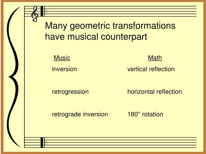 Many geometric transformations have musical counterpart