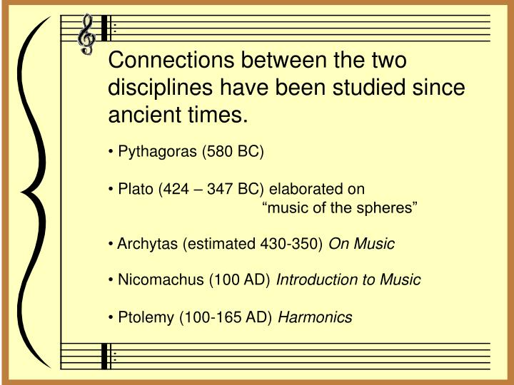 Connections between the two disciplines have been studied since ancient times.