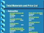 total materials and price list48