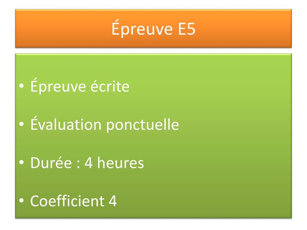 Épreuve E5