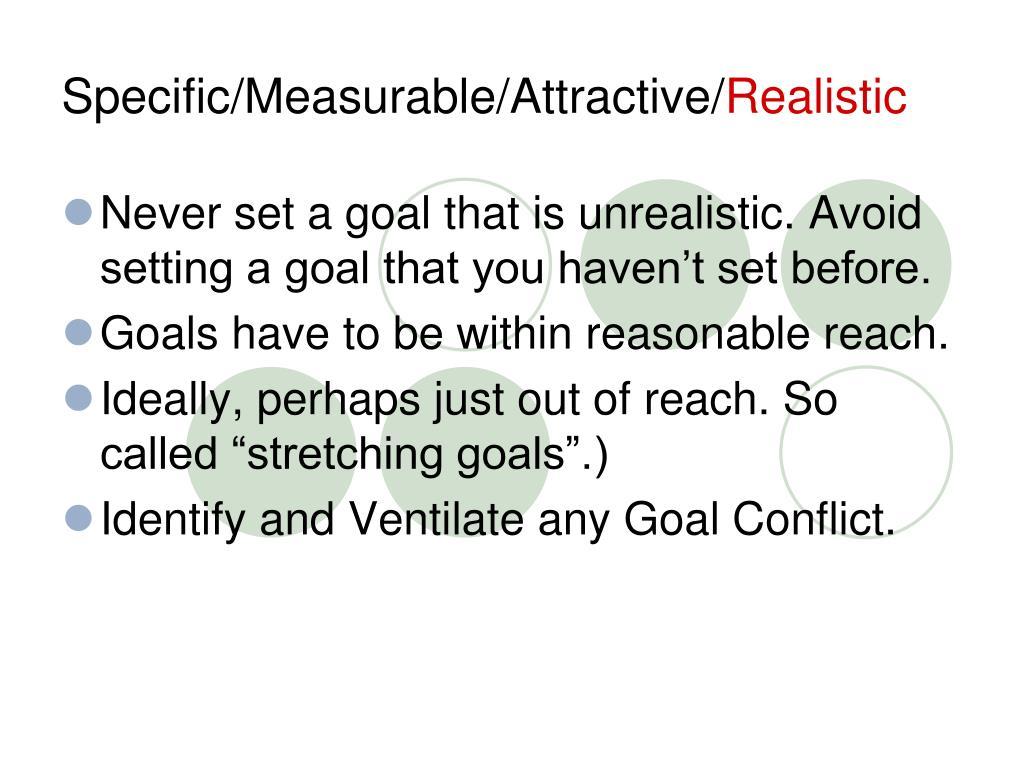 Specific/Measurable/Attractive/