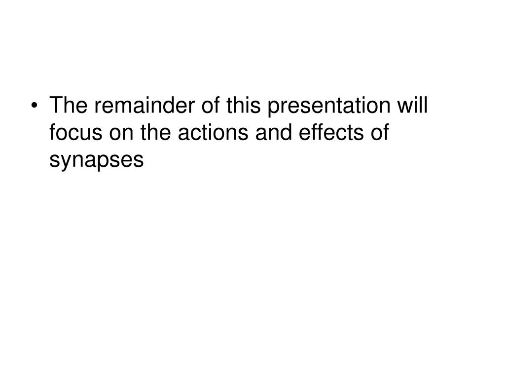 The remainder of this presentation will focus on the actions and effects of synapses