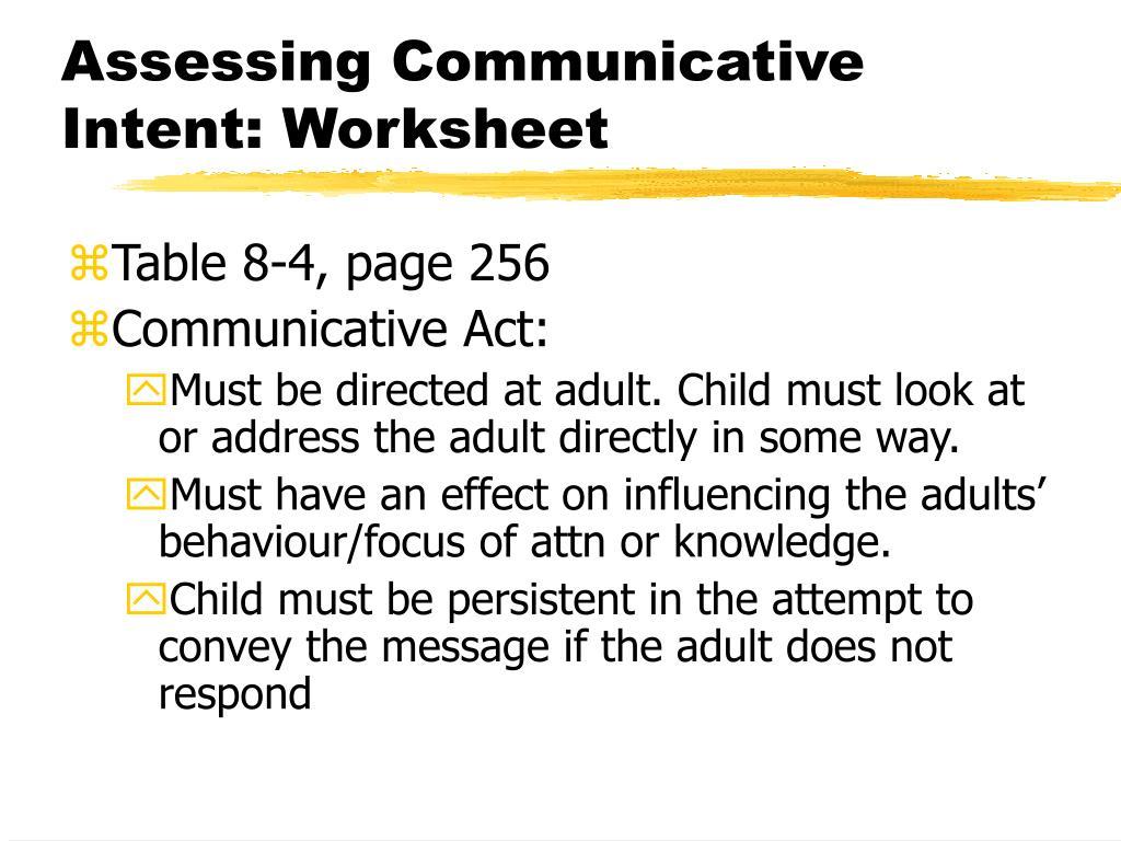 Assessing Communicative Intent: Worksheet