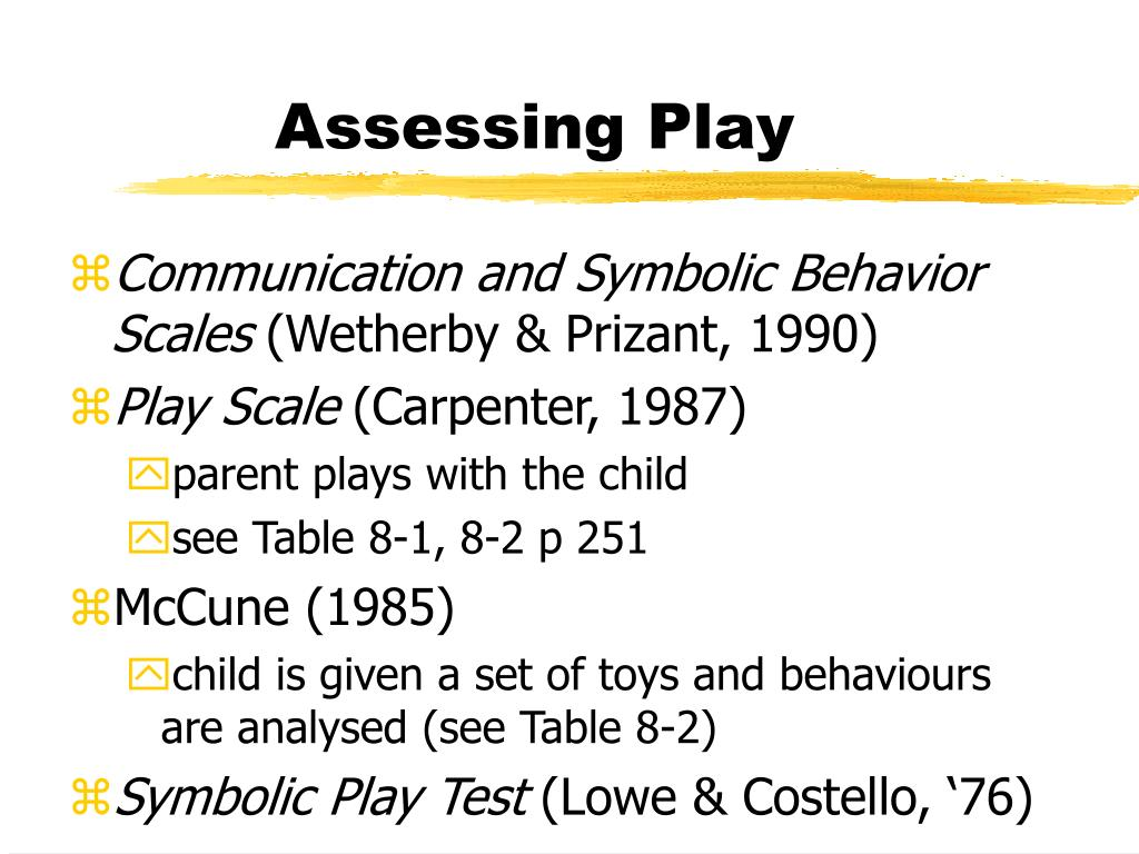 Assessing Play