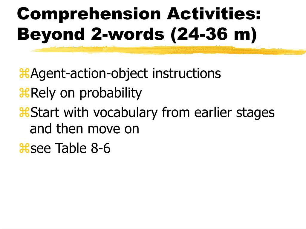 Comprehension Activities: