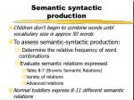semantic syntactic production