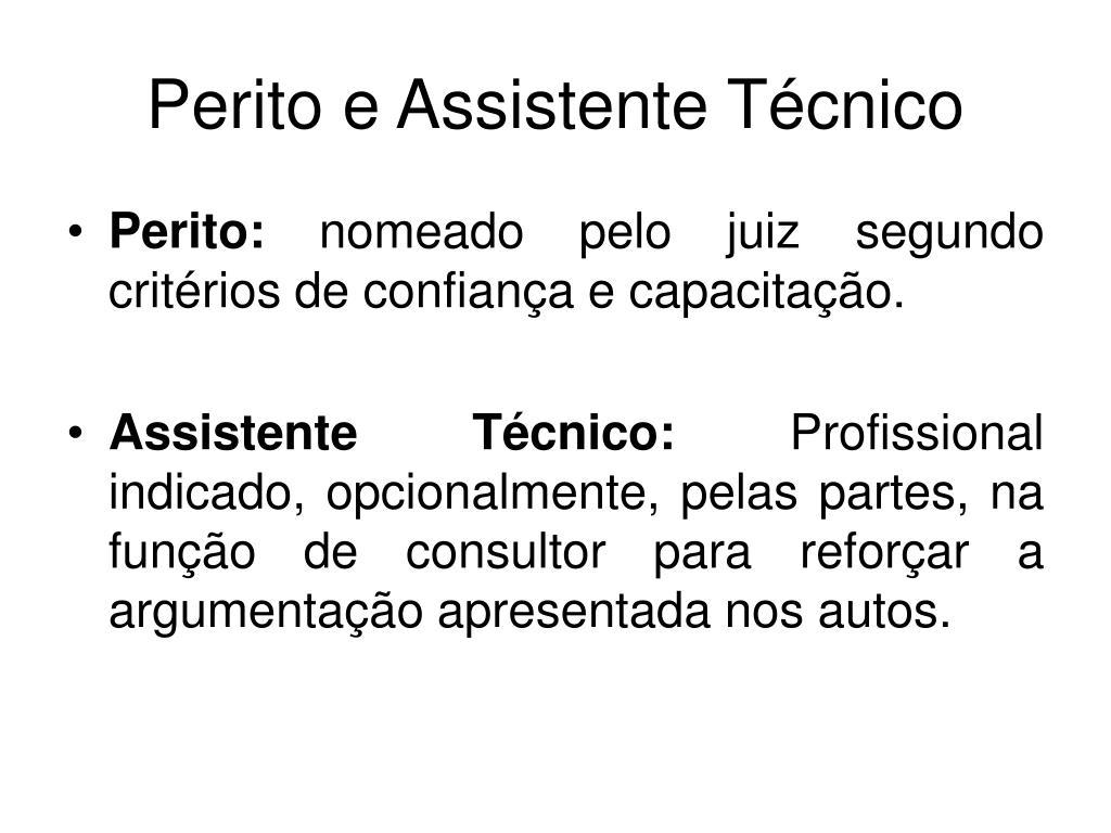 Perito e Assistente Técnico