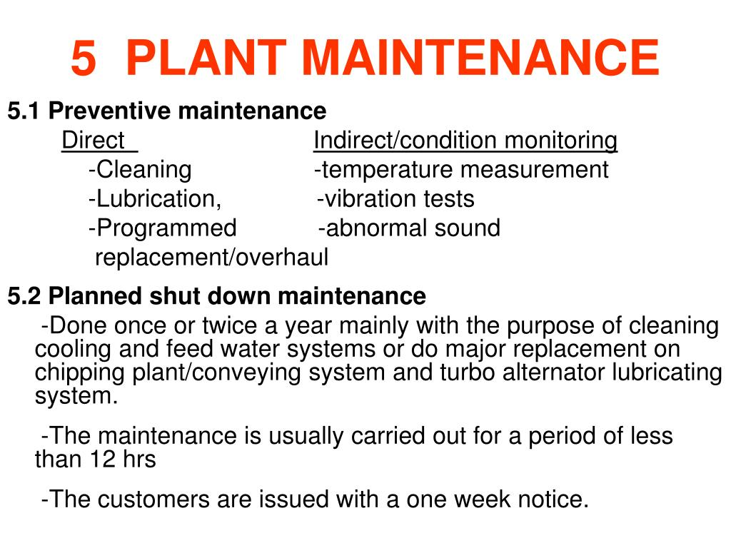 5  PLANT MAINTENANCE