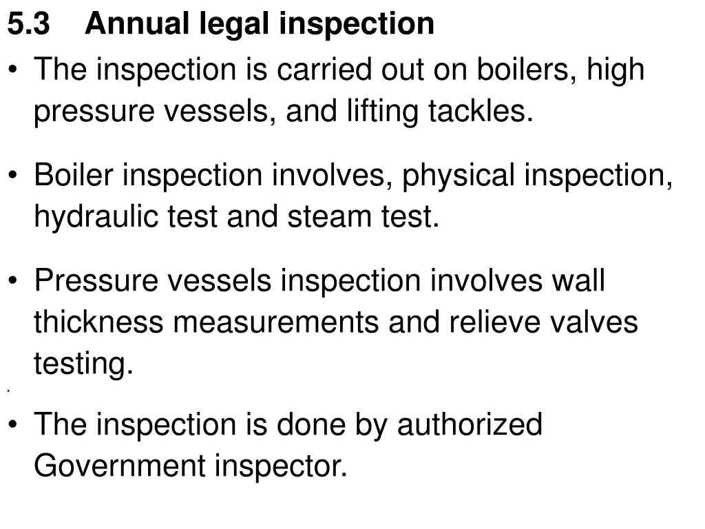 5.3    Annual legal inspection