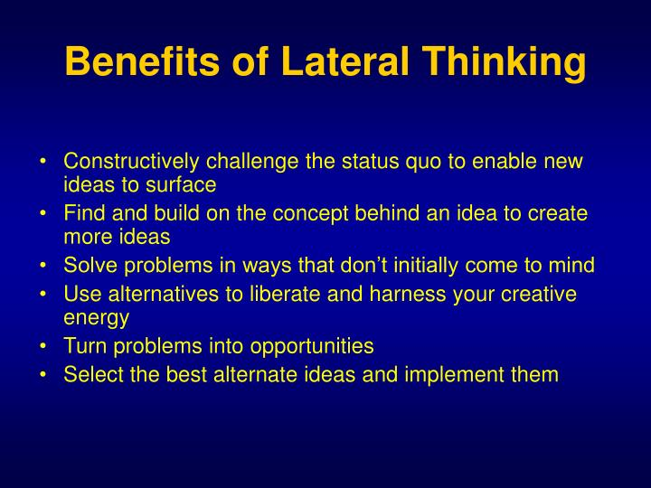 Benefits of Lateral Thinking