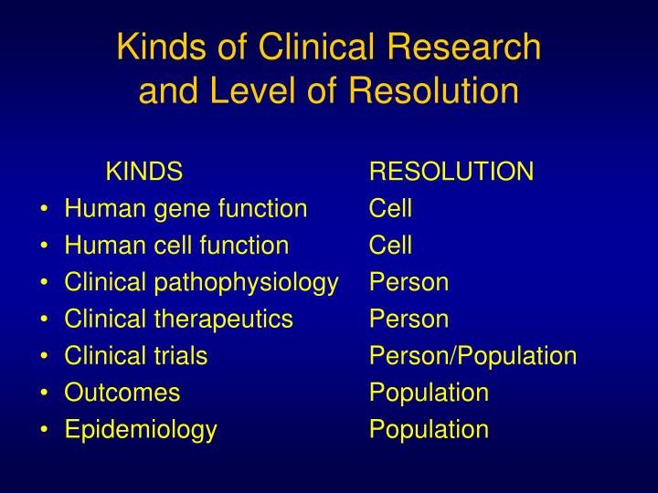 Kinds of Clinical Research
