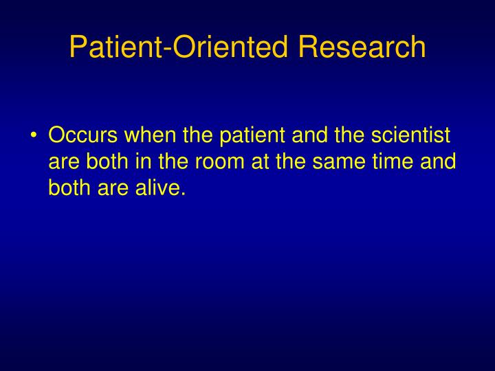 Patient-Oriented Research