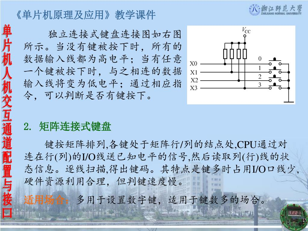 独立连接式键盘连接图如右图所示。当没有键被按下时,所有的数据输入线都为高电平;当有任意一个键被按下时,与之相连的数据输入线将变为低电平;通过相应指令,可以判断是否有键按下。