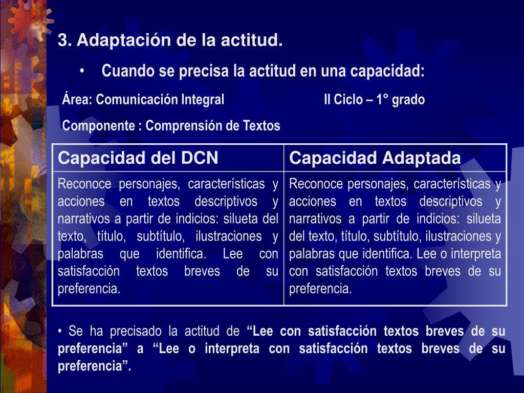 3. Adaptación de la actitud.