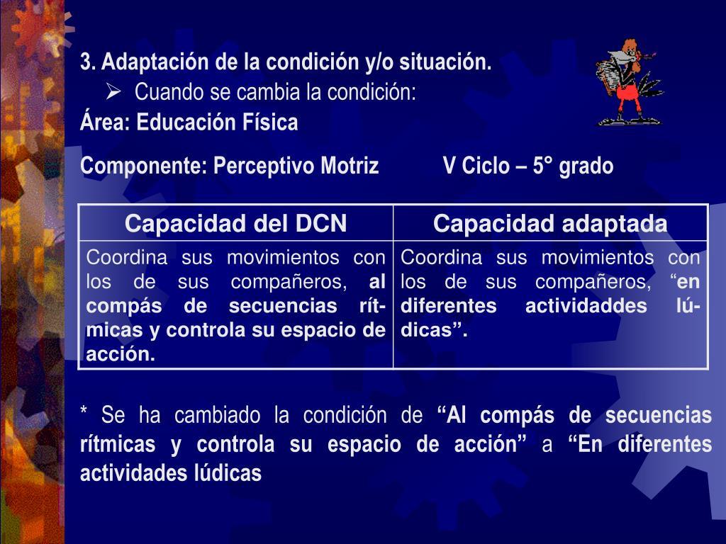 3. Adaptación de la condición y/o situación.
