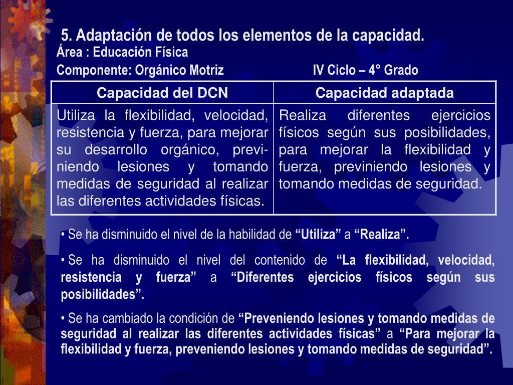 5. Adaptación de todos los elementos de la capacidad.