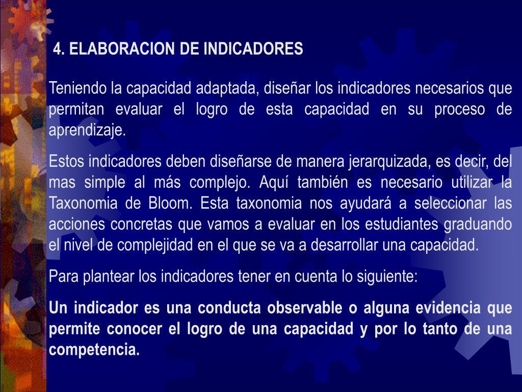 4. ELABORACION DE INDICADORES