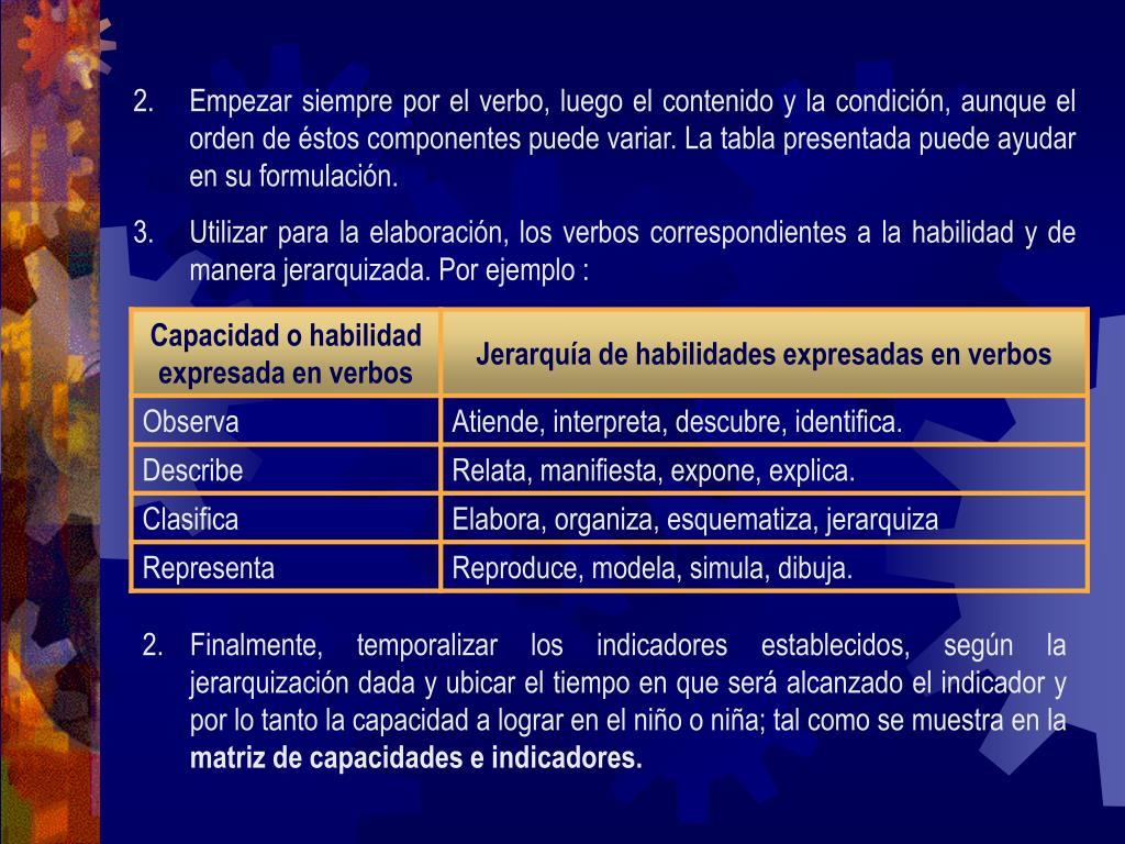 Empezar siempre por el verbo, luego el contenido y la condición, aunque el orden de éstos componentes puede variar. La tabla presentada puede ayudar en su formulación.