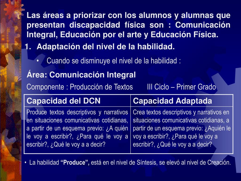 Las áreas a priorizar con los alumnos y alumnas que presentan discapacidad física son : Comunicación Integral, Educación por el arte y Educación Física.