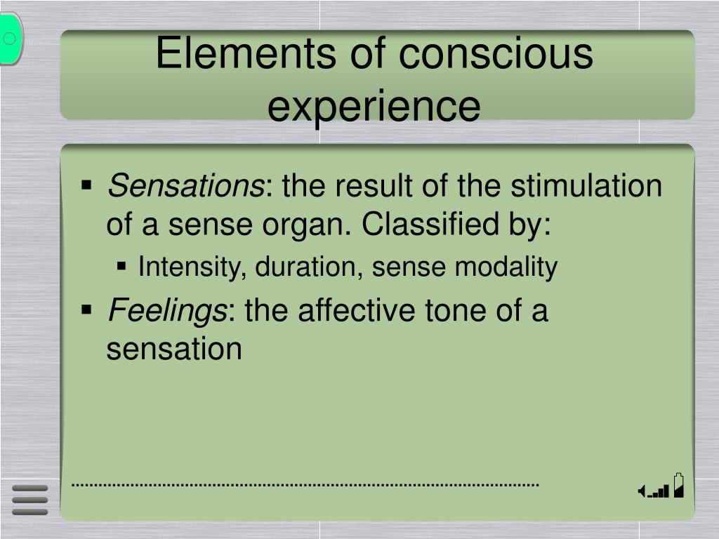 Elements of conscious experience