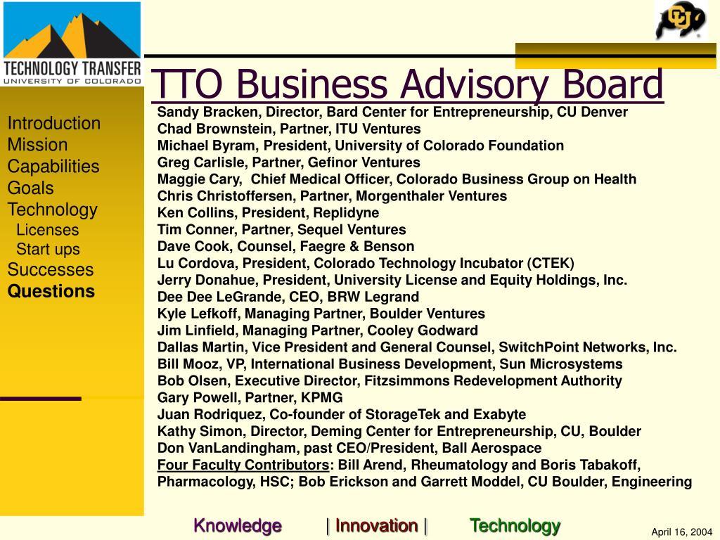TTO Business Advisory Board