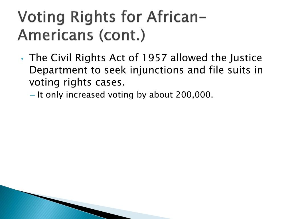 voting rights for african americans 1963 voting rights as civil rights large-scale efforts in the south to register african americans to vote are intensified however, state officials refuse to allow.