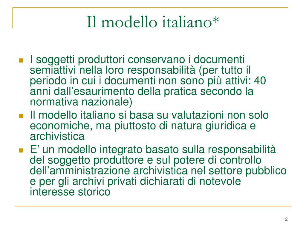 Il modello italiano*