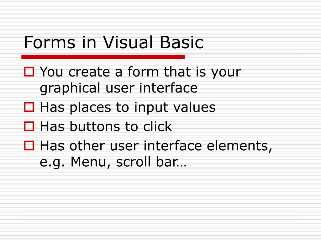 Forms in Visual Basic