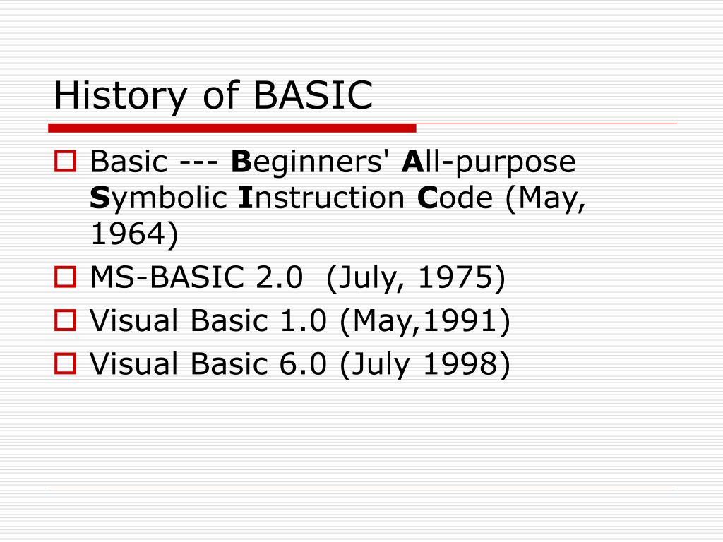 History of BASIC