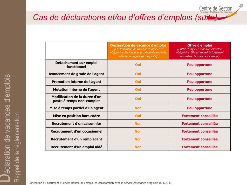 Cas de déclarations et/ou d'offres d'emplois (suite)