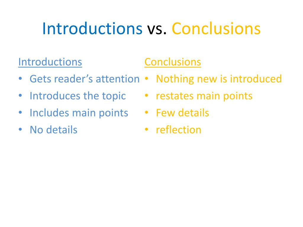 how to write an introduction and conclusion